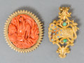 Jewelry:Brooches/Pins, Three Chinese Gold, Coral, Opal, and Diamond Brooches and Necklace. 48 inches long (121.9 cm) (longest, overall strand lengt... (Total: 2 Items)