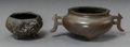 Asian:Chinese, Two Diminutive Chinese Bronze Censers, Qing Dynasty. 2 inches highx 5-1/4 inches wide (5.1 x 13.3 cm) (larger). ... (Total: 2 Items)
