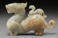 Asian:Chinese, A Chinese Archaic-Style Russet Jade Dragon Group. 4-3/4 h x 7-1/4 wx 2 d inches (12.1 x 18.4 x 5.1 cm). ...