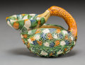 Asian:Chinese, A Chinese Sancai Glazed Earthenware Goose-Form Oil Lamp, TangDynasty or Later. 3-1/8 h x 4-1/4 w x 2-3/4 d inches (7.9 x 10...