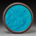 Asian:Chinese, A Chinese Turquoise Glazed Porcelain Roundel with Chilong Motif,Qing Dynasty. 10-5/8 inches diameter (27.0 cm) (framed). ...