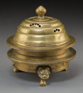 Asian:Japanese, A Japanese Brass Ritual Kasha, Edo Period, 19th century. 5-5/8inches high x 5-1/2 inches diameter (14.3 x 14.0 cm). ...