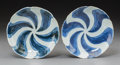 Asian:Chinese, A Pair of Chinese Blue and White Porcelain Swirl Patterned Dishesfor the Japanese Market. 1-3/8 inches high x 6 inches diam...(Total: 2 Items)