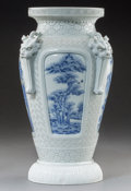 Asian:Japanese, A Japanese Hirado Blue and White Carved Porcelain Vase with DragonMask Handles, Meiji Period, circa 1900. Marks: Six-charac...