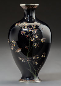 A Small Japanese Cloisonne Vase with Sparrow and Cherry Tree Motif, Meiji Period, late 19th century 5 inches high