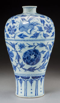 A Chinese Blue and White Porcelain Meiping Vase, Qing Dynasty, Kangxi Period, circa 1662-1722 14 inches high (35.6