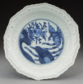 Asian:Japanese, A Japanese Molded Hizen Ware Porcelain Dish. Marks: Seal in blueunderglaze. 2-3/4 inches high x 12-1/2 inches diameter (7.0...