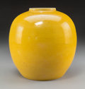 Asian:Chinese, A Chinese Yellow-Glazed Porcelain Jar, Qing Dynasty. Marks:Six-character Kangxi mark and of a later period. 8-3/8 inches hi...
