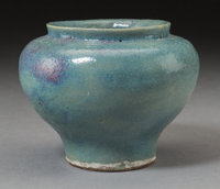 A Chinese Junyao Pottery Jar, Yuan Dynasty, circa 1271-1368 4-1/2 inches high (11.4 cm)  PROVENANCE: John