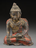 Asian:Other, A Tibetan Gilt and Polychromed Copper Buddha Cover. 8-3/4 h x 6-1/2w x 2-7/8 d inches (22.2 x 16.5 x 7.3 cm). ...