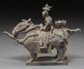 Asian:Other, A Korean Silla-Style Grey Stoneware Funerary Horse and Rider. 8-1/8h x 10-1/4 w x 3-1/2 d inches (20.6 x 26.0 x 8.9 cm). ...