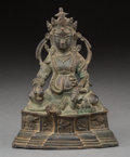 Asian:Chinese, A Southeast Asian Bronze Seated Jambhala with Mongoose Figure.7-7/8 h x 6-1/8 w x 4 d inches (20.0 x 15.6 x 10.2 cm). ...