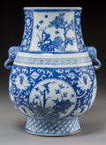 Asian:Chinese, A Chinese Blue and White Porcelain Vase with Elephant Mask Handles,Qing Dynasty. 12-1/4 inches high (31.1 cm). ...