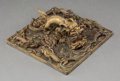 Asian:Chinese, A Large Chinese Qianlong-Style Gilt Bronze Dragon Seal, LateQing-Republic Period. 2-1/2 h x 6-1/2 w x 6-1/2 d inches (6.4 x...