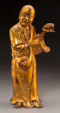 Asian:Chinese, A Chinese Lacquered and Gilt Bronze Liu Hai Figure, Qing Dynasty.16-3/8 inches high (41.6 cm). ...