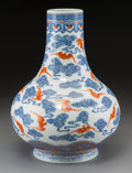 Asian:Chinese, A Chinese Blue and White Porcelain Vase with Orange Bat Motif, QingDynasty, Guangxu Period, circa 1875-1908. Marks: Six-cha...