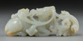 Asian:Chinese, A Chinese Celadon Jade Deer and Floral Group, Qing Dynasty, 18thcentury. 1-7/8 h x 4-5/8 w x 1-1/4 d inches (4.8 x 11.7 x 3...