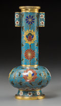 Asian, A Chinese Cloisonné and Gilt Bronze Arrow Vase, Qing Dynasty,possibly Qianlong Period. 8 inches high (20.3 cm). ...