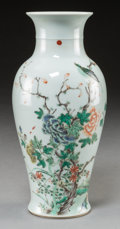 Asian:Chinese, A Chinese Famille Verte Porcelain Vase with Bird and FlowerDecoration, Qing Dynasty, 19th century . 9-3/4 inches high (24.7...