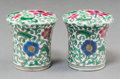 Asian:Chinese, A Pair of Chinese Enameled Famille Rose Porcelain Scroll Ends, Qing Dynasty, Guangxu Period, circa 1875-1908. Marks: Six-cha... (Total: 2 Items)