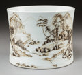 Asian:Chinese, A Chinese Grisaille Landscape Brush Pot, Qing Dynasty. 6-1/4 incheshigh x 7-7/8 inches diameter (15.9 x 20.1 cm). ...