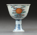 Asian:Chinese, A Chinese Porcelain Clouds and Sun Stem Cup, Late QingDynasty . Marks: Six-character Yongzheng mark and of a la...