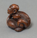 Asian:Japanese, A Japanese Carved Boxwood Blind Masseur Netsuke, Meiji Period, 19thcentury. Marks: (signature). 1-3/8 inches high (3.5 cm)...