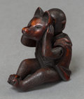 Asian:Japanese, A Japanese Carved Boxwood Articulated Monkey with Fox Mask. 1-5/8inches high x 1-5/8 inches wide (4.1 x 4.1 cm). ...