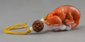 Asian:Chinese, A Chinese Carnelian Squirrel and Grape Toggle, 19th Century. 1-3/4inches long (4.4 cm). ...