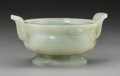 Asian:Chinese, A Chinese Carved Celadon Jade Two-Handled Censer, Qing Dynasty .3-1/8 h x 6-1/2 w x 5 d inches (7.9 x 16.5 x 12.7 cm). ...