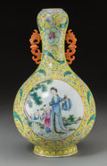 Asian:Chinese, A Chinese Famille Rose Enameled Porcelain Twin-Handled Bottle Vase,Republic Period, circa 1912-1949. Marks: Six character Q...