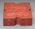 Asian:Chinese, A Chinese Cinnabar Lacquered Box, Qing Dynasty, 19th century. 3-1/2h x 10-1/8 w x 10-1/4 d inches (8.9 x 25.7 x 26.0 cm). ...