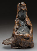 Asian:Chinese, An Unusual Chinese Burlwood Naturalistic Guanyin Figure, QingDynasty. 9-1/4 inches high (23.5 cm). ...
