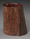 Asian:Chinese, A Chinese Carved Hardwood Brush Pot. 6 h x 5-1/4 w x 3-5/8 d inches(15.2 x 13.3 x 9.2 cm). ...