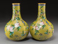 Asian:Chinese, A Pair of Chinese Cloisonné Bat and Peach Bottle Vases. Marks:three character Daoguang mark and of a later period. 10-1/8 i...(Total: 2 Items)