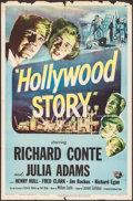 "Movie Posters:Thriller, Hollywood Story (Universal International, 1951). Folded, Fine+. OneSheet (27"" X 41"") & Lobby Card (11"" X 14""). Thriller.. ...(Total: 2 Items)"