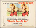 "Movie Posters:Foreign, Babette Goes to War (Columbia, 1960). Half Sheet (22"" X 28"") Style B. Foreign.. ..."
