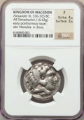 Ancients:Ancient Lots , Ancients: ANCIENT LOTS. Greek. Macedonian Kingdom. Ca. 359-323 BC.Lot of three (3) AR and AE issues. NGC Fine-XF.... (Total: 3 coins)