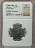 Ancients:Greek, Ancients: SICILY. Syracuse. Agathocles (317-289 BC). AE litra(23mm, 10.84 gm). NGC XF 4/5 - 5/5....