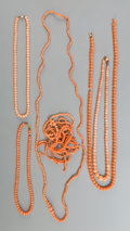 Asian:Chinese, Six Chinese Coral Beaded Necklaces and Bracelets. 29 inches long(73.7 cm) (longest necklace, overall). ... (Total: 6 Items)