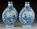 Asian:Chinese, A Pair of Chinese Blue and White Porcelain Moon Flask Vases, QingDynasty, 19th century. 14-1/4 inches high (36.2 cm). ... (Total: 2Items)
