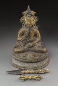 Asian:Chinese, A Tibetan Bronze Seated Lama Figure with Phurba and Vajra. 13 h x8-3/4 w x 6-1/2 d inches (33.0 x 22.2 x 16.5 cm) (figure)...(Total: 3 Items)