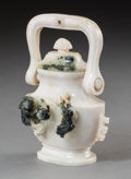 Asian:Chinese, A Chinese Carved White Jade Handled Urn. 4-5/8 h x 3-1/2 w x 1-3/4d inches (11.7 x 8.9 x 4.4 cm). ...