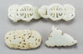 Asian:Chinese, Four Chinese Carved White Jade Jewelry Items. 1 inch high x 3-1/2inches wide (2.5 x 8.9 cm) (buckle). ... (Total: 4 Items)