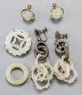 Jewelry:Earrings, Six-Pieces of Chinese White Jade Jewelry, Qing Dynasty. 3-1/8 inches long (7.9 cm) (linked earrings). ... (Total: 6 Items)