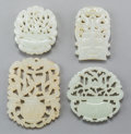 Asian:Chinese, Three Chinese Carved White Jade Reticulated Plaques with HardstoneCarving. 2-3/4 inches high (7.0 cm) (largest). ... (Total: 4 Items)
