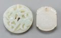 Asian:Chinese, Two Chinese Carved White Jade Plaques, Ming-Qing Dynasties. 2-1/4inches diameter (5.8 cm) (larger). ... (Total: 2 Items)