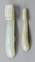 Asian:Chinese, Two Chinese Carved White Jade Dragon Garment Hooks, QingDynasty. 4-1/2 inches long (11.4 cm). 3-5/8 inches long... (Total:2 Items)