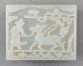 Asian:Chinese, A Chinese White Jade Harnessed Qilin Belt Plaque with Stand,Ming Dynasty. 3-1/8 inches wide (7.9 cm). ...