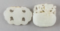 Asian:Chinese, Two Chinese Carved White Jade Bat and Duck Toggles.2-1/4 inches wide (5.7 cm) (bat). ... (Total: 2 Items)